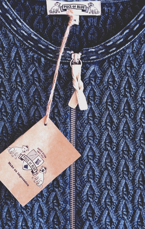 Pretty and Feminine Knitted Cardigan in Blue for Women from Piece of Blue. Close up 2.