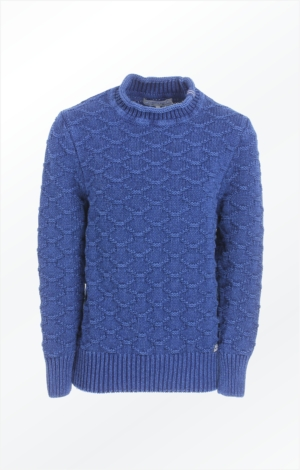 Indigo Sweater Knitted in a Structured Knit Pattern from Piece of Blue