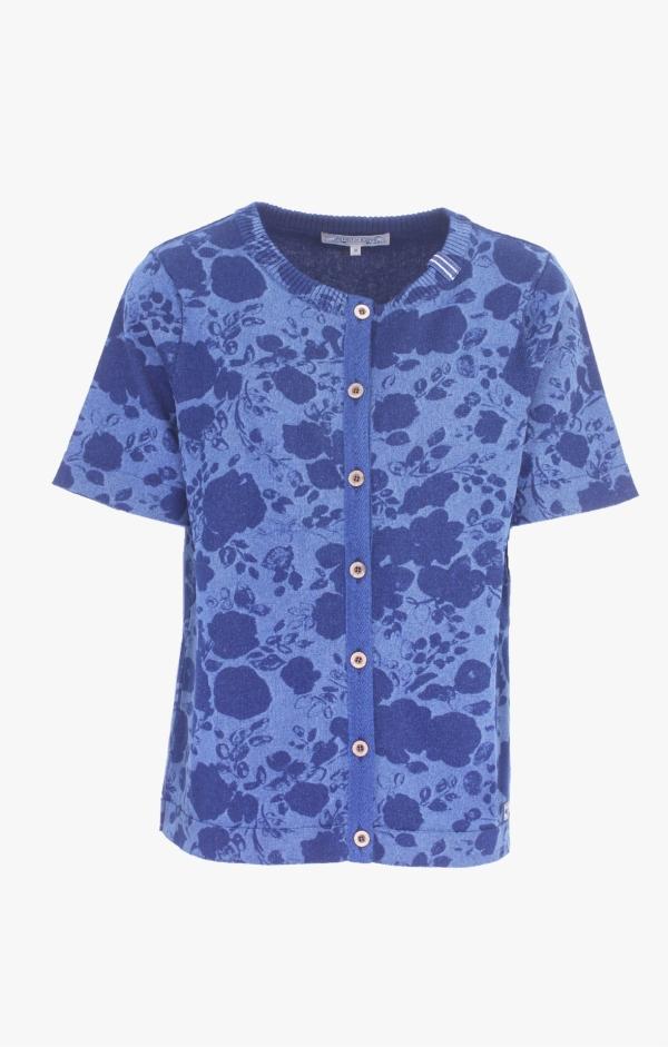 Feminine short-sleeved Indigo Cardigan for Women from Piece of Blue