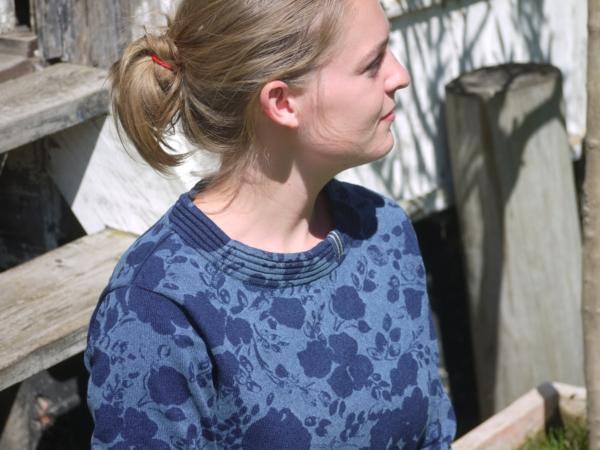 Feminine Indigo Blue Pullover for Women from Piece of Blue