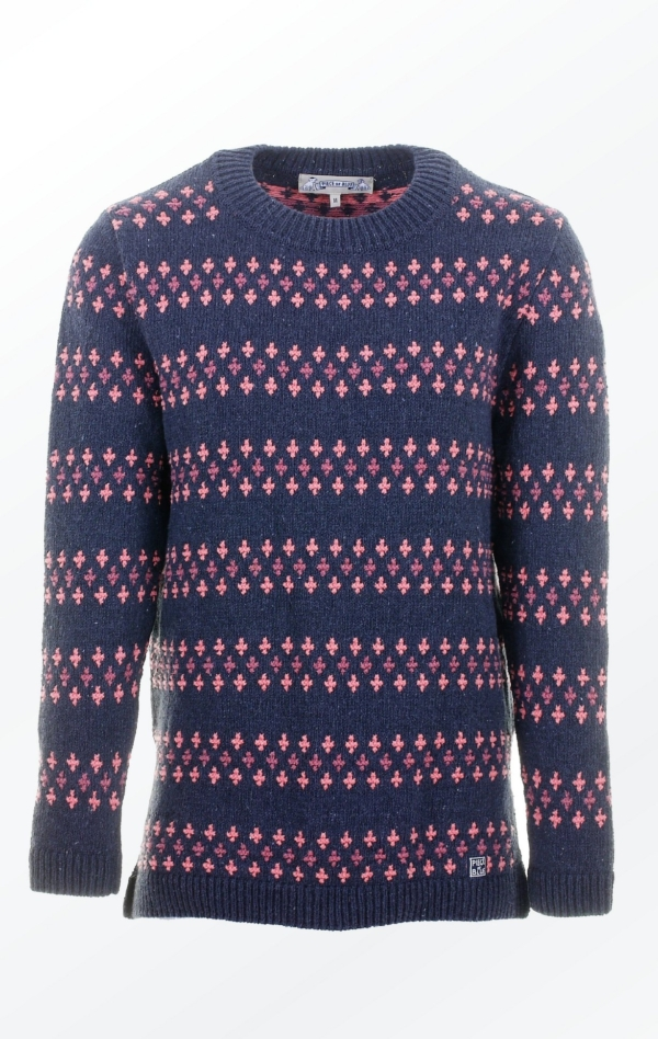 Relaxed Long Black Grey Pullover With Stripes for Women from Piece of Blue, seen from front