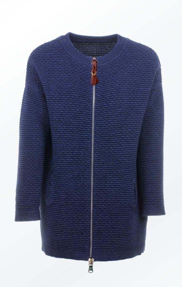 Elegant Long Wool-Cotton Knit Jacket in Dark Indigo for Women from Piece of Blue