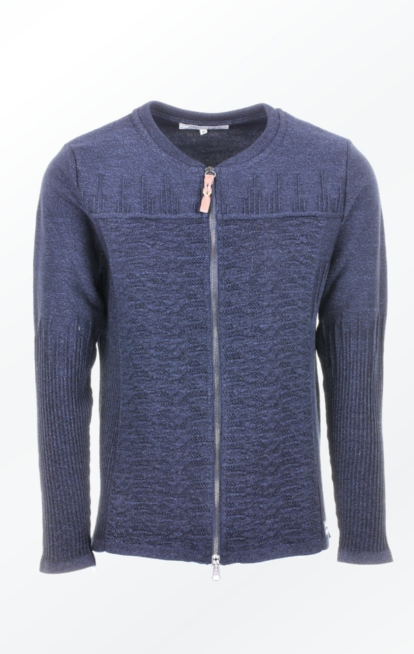 Nice and Elegant Cardigan Knitted in Cotton and Wool for Women from Piece of Blue