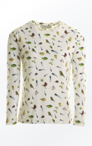 Cream White T-Shirt Printed in Pretty Pattern for Women from Piece of Blue