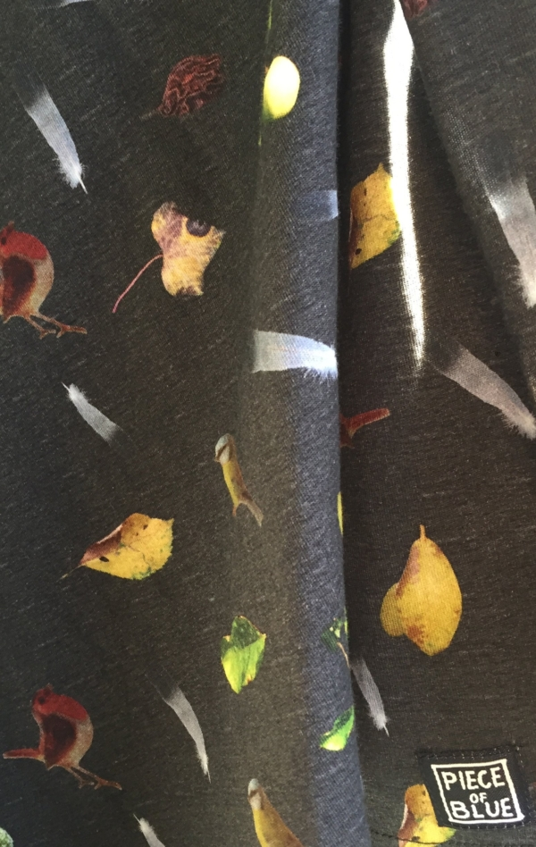 Black Grey T-Shirt Printed in Pretty Pattern for Women from Piece of Blue. Close up 3.