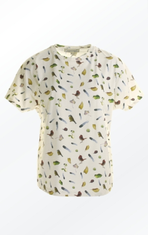 Cream White Short-Sleeved T-Shirt Printed in Pretty Pattern for Women from Piece of Blue