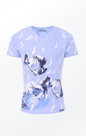 Blue Hand-Printed T-shirt with Pretty Print from Piece of Blue.