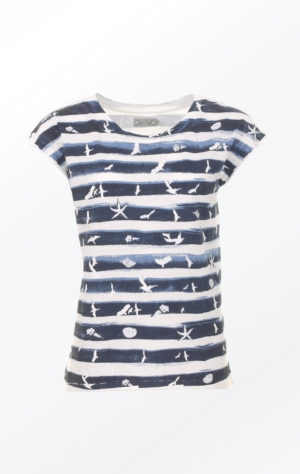 Handprinted Marine Blue and White T-shirt with and extra Pretty Print of birds and shells for Women from Piece of Blue