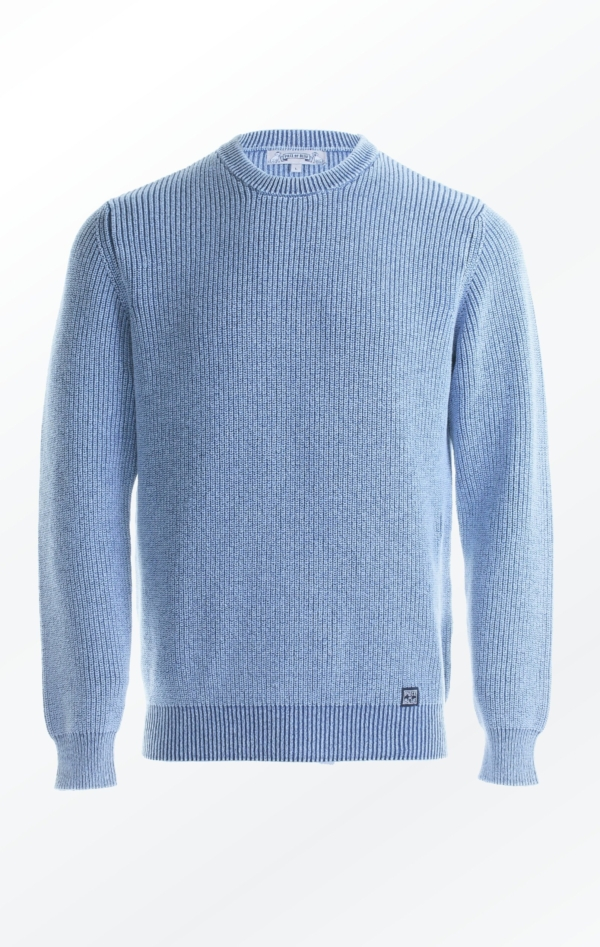 Structured Knitted Pullover for Him in Indigo Blue from Piece of Blue