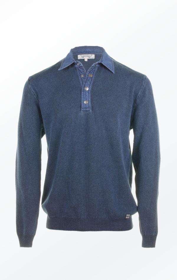 Half-Button Pullover in Dark Indigo Blue for Men from Piece of Blue