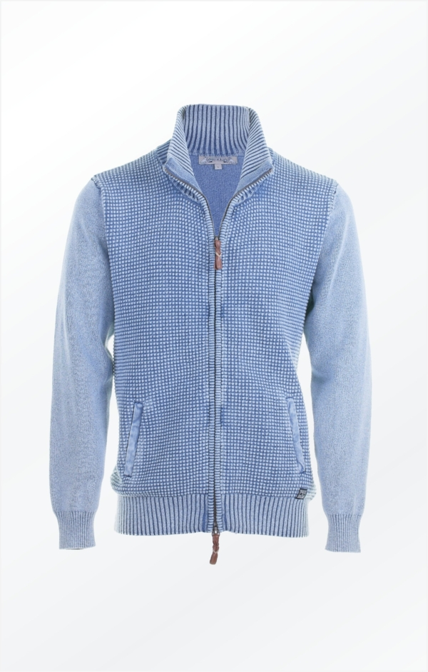 Two-way Zipper Cardigan in Ligt Indigo Blue for Men from Piece of Blue