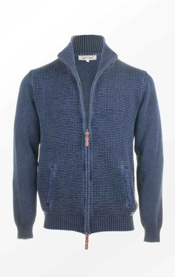 Two-way Zipper Cardigan in Dark Indigo Blue for Men from Piece of Blue