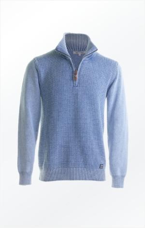 Basic half-zip Pullover in Light Indigo Blue for Men from Piece of Blue