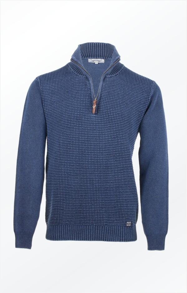 Basic half-zip Pullover in Light Indigo Blue for Men from Piece of Blue, picture 1.