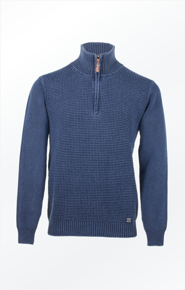 Basic half-zip Pullover in Light Indigo Blue for Men from Piece of Blue, picture 2.