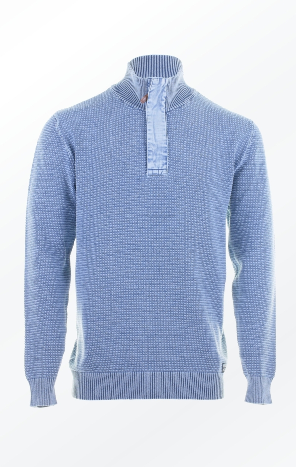 Light Indigo Blue half zip Sweater wiht O-neck for Men from Piece of Blue