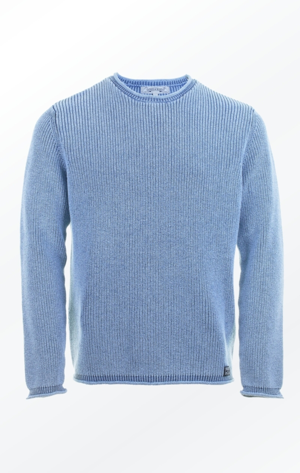 Elegant O-neck Pullover in Light Indigo Blue for Him from Piece of Blue
