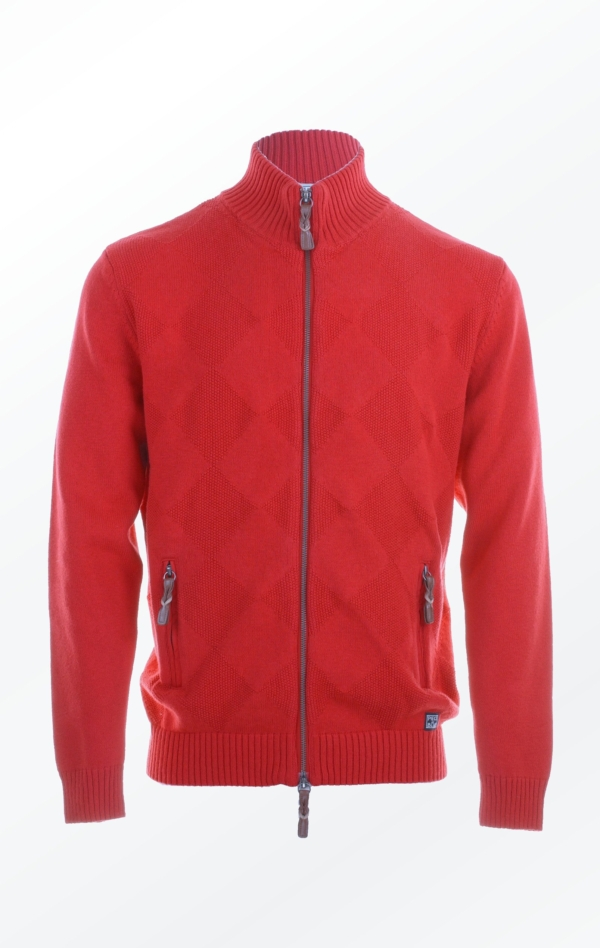 Knitted Cardigan in Red with a high Collar for Men from Piece of Blue