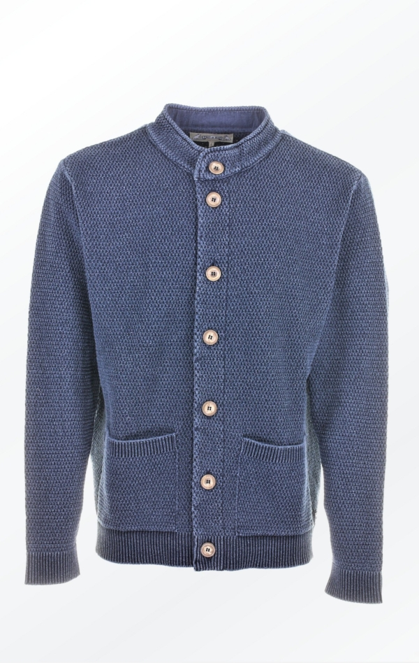 Nice Dark Indigo Blue Knit Jacket with Buttons for Him from Piece of Blue