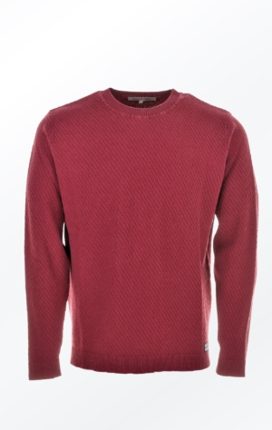 Simple O-Neck Burgundy Red Pullover with Rib for Men from Piece of Blue