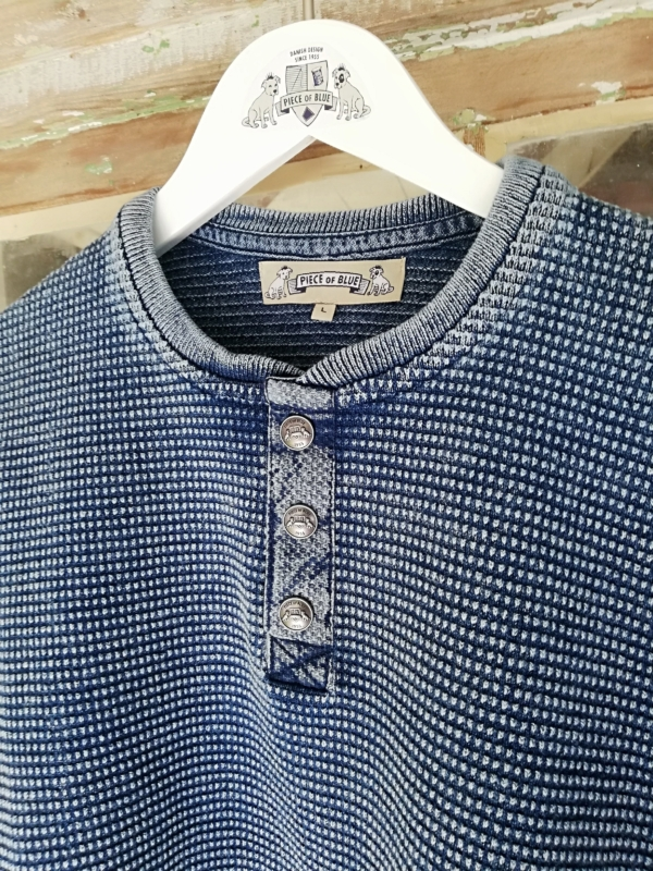 Light Indigo Blue Cotton Pullover with Buttons for Men from Piece of Blue
