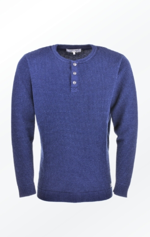 Indigo Blue Cotton Pullover with Buttons for Men from Piece of Blue
