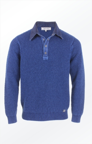 Indigo Blue Cotton Polo with Buttons for Men from Piece of Blue