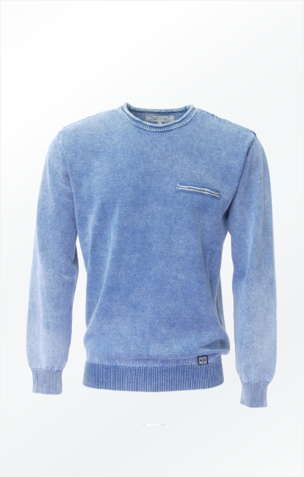 Light Indigo Blue Polo Knitted in pure Cotton for Men from Piece of Blue