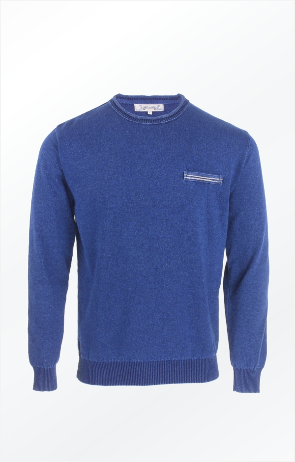 Indigo Blue Polo Knitted in pure Cotton for Men from Piece of Blue