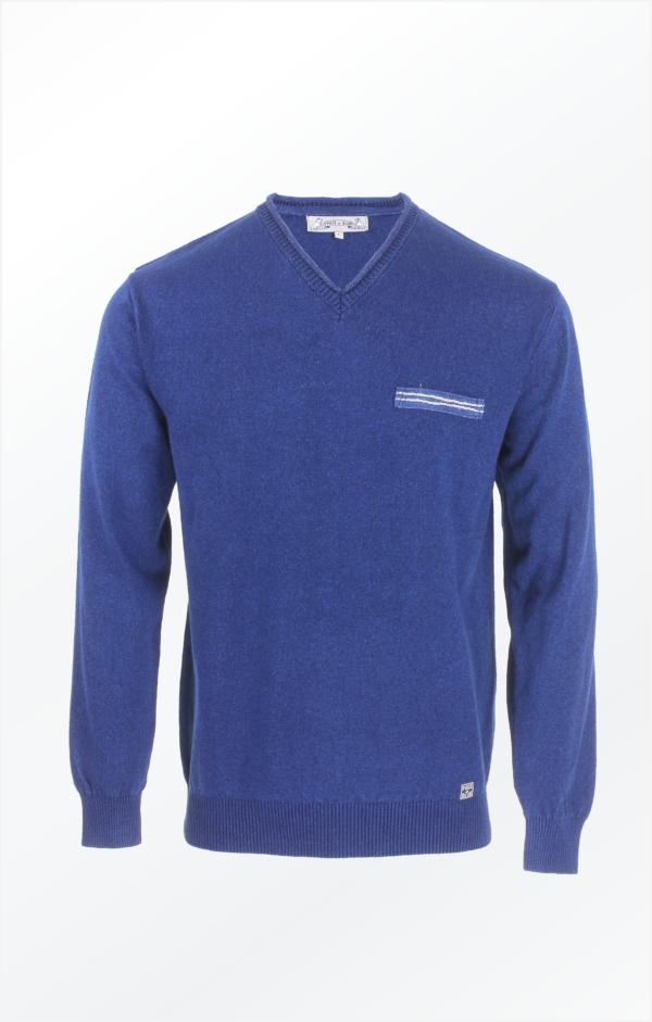 Indigo Blue Pullover Knitted in pure Cotton for Men from Piece of Blue