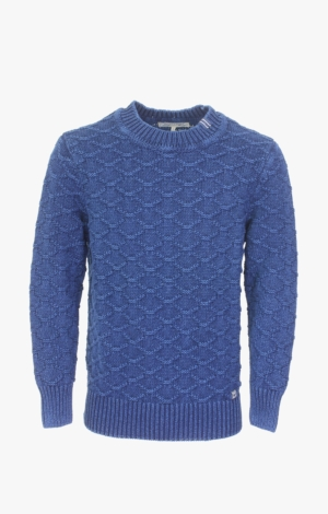 Indigo Pullover Knitted in a Structured Knit Pattern from Piece of Blue