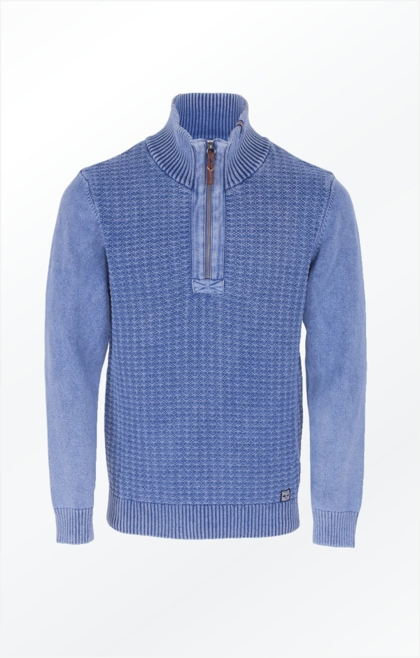 Light Indigo Pullover with Herringbone Band for Men from Piece of Blue