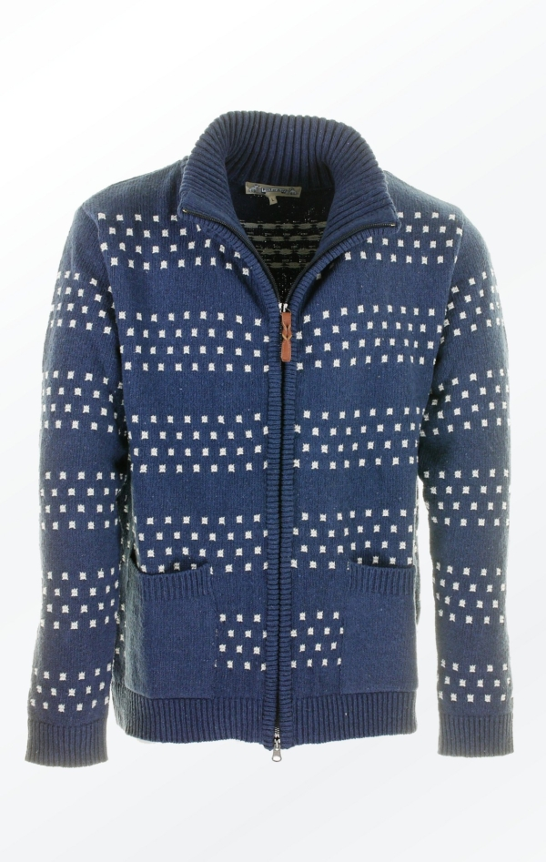Nice Dark Indigo Blue Knit Jacket with two-way Zipper for Men from Piece of Blue