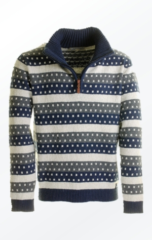 Nice Off-White Striped Knit Pullover with Zipper for Men from Piece of Blue