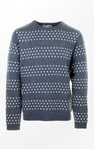 Nice Grey Pullover Knitted in Ecologic Cotton Yarn for Him from Piece of Blue
