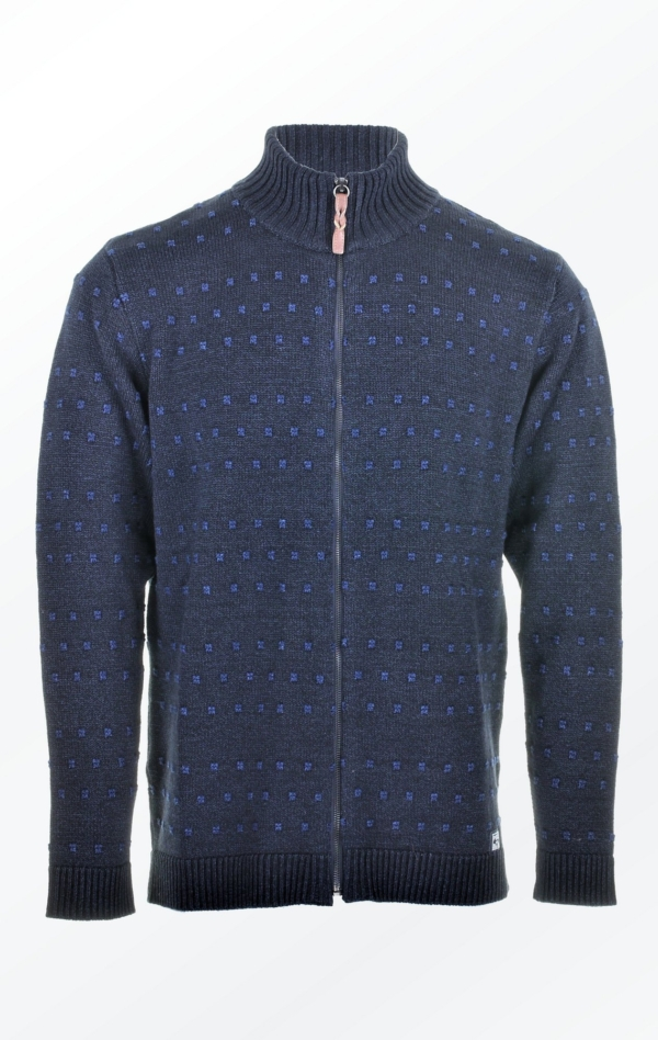 Wool-Cotton Knitted Jacket with high Collar for Men from Piece of Blue